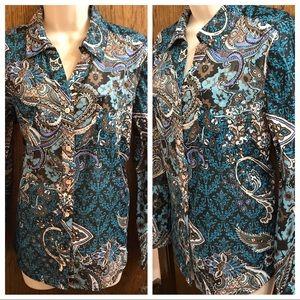 Gorgeous Chicos Dress Shirt Size 2, blue